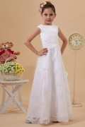 Natural waist Bateau Sleeveless White Tulle Flower Girl Dress with Appliques