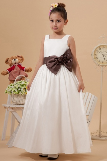 Simple Taffeta Colour Matching Bow Long Flower Girl Dress