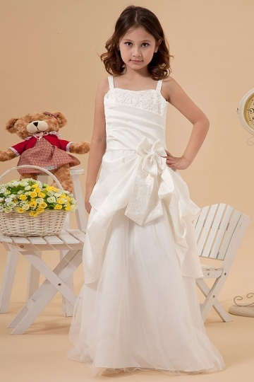 Dressesmall Sleeveless Ivory Strap Satin Pick up skirt Princess Flower Girl Dress with Appliques