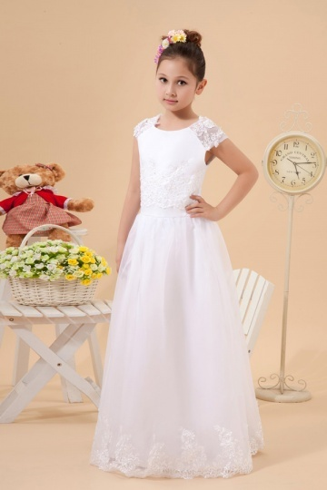 Dressesmall Cap Sleeves Tulle White Flower Girl Dress with Appliques