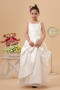 Simple Satin Straps Beading Ruching Lace Applique A line Long Flower Girl Dress