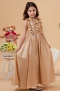 Bateau Champagne Taffeta A line Sleeveless Flower Girl Dress