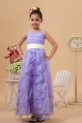 Purple tone Organza Tea length Empire Pick up skirt Sash Flower Girl Dress
