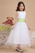 Simple Tulle Boatneck Color Matching Bow A line Long Flower Girl Dress