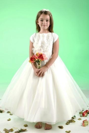 Vestidos Linha A Adornadas com flores  Vestidos longos Organza Branca Vestido de daminha