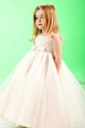 Lovely Beige Applique Organza Girls Bridesmaid Dress with Bow