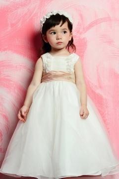 Robe mariage enfant col carré en organza