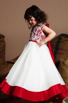 Robe de cérémonie fille blanche et rouge longue en organza