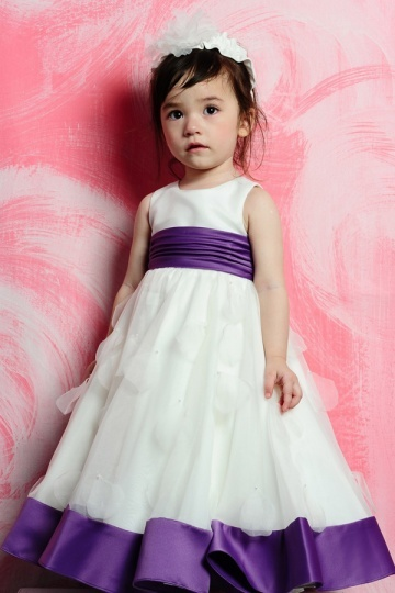 Lovely A line Purple Belt Satin Girls Bridesmaid Dress with Bow