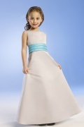 Sweet Scoop Ankle Length Satin Girls Bridesmaid Dress with Blue Belt