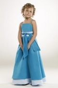 Vestidos Linha A Alcinhas Cetim Azul Vestido de daminha