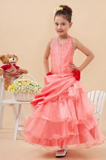 Vestidos Linha A Decote Meio Decoradas com lantejoulas Vestido de daminha