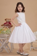 White Round Neck Lace Applique Beaded Taffeta Girls Bridesmaid Dress