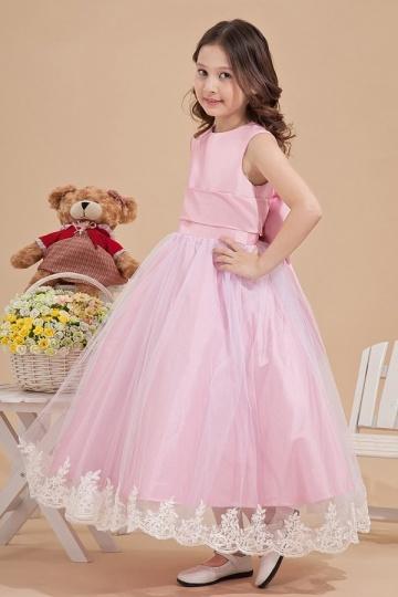 Vestidos Linha A Adornado com um laço na costas Tafetá Rosa Vestido de daminha