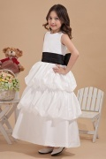 Charming Round Neck Pleat Black Belt Taffeta Flower Girl Gown
