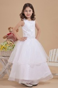 A line White Sleeveless Lace Applique Organza Flower Girl Gown