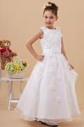 Vestidos Linha A Adornadas com flores Vestidos longos Brancos Vestido de daminha