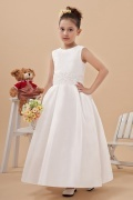 Simple White Lace Applique Taffeta Flower Girl Gown