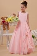 Chic Bodenlanges rosa A-Linie Carré-Ausschnitt Blumenmädchenkleider
