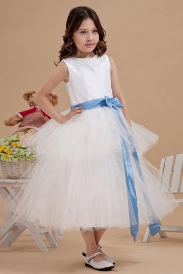 Simple Beading Neck Blue Belt Tulle Flower Girl Gown