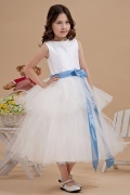 Simple Beading Neck Blue Belt Tulle Flower Girl Gown