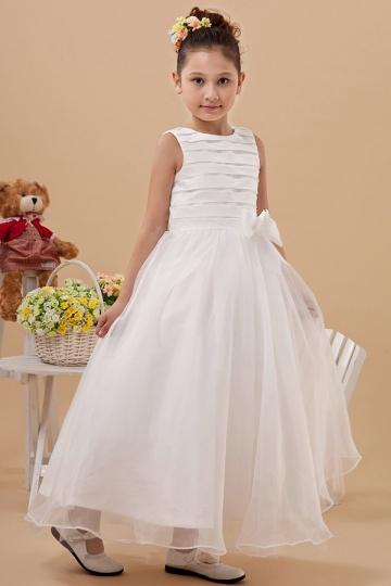 Vestidos Linha A com listras Vestidos longos Organza Branco Vestido de daminha