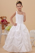 A line Square Neck Floor Length Beading Taffeta Flower Girl Dress