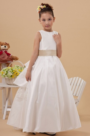 Simple Round White Taffeta Flower Girl Dress with Champagne Belt