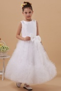 White A line Round Neck Tulle Flower Girl Dress with Bow