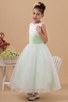 Robe cortège fille blanche et verte à nœud papillon au dos