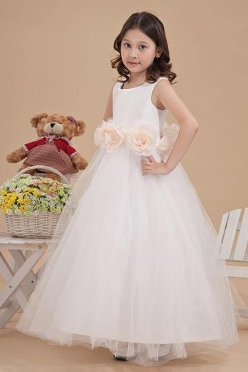 Lovely Empire Round Neck Tulle Flower Girl Dress with Flower