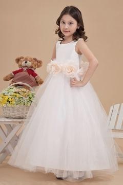 Robe fille d'honneur princesse ornée de fleurs autour de la taille
