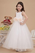 Lovely Empire Round Neck Tulle Flower Girl Dress with Flower