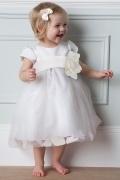 Vestidos Linha A com Mangas curtas Decorada com uma flor Vestido de daminha