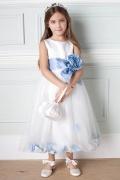 Vestidos Linha A Decoradas com flores Império chiffon Vestido de daminha