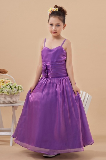 Sweetheart Spaghetti Ruching Organza Flower Girl Dress