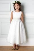 Vestidos Linha A Império Decorados com laço e pérola Cetim Branco Vestido de daminha