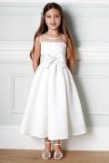 Vestidos Linha A com gravata borboleta Vestidos longos Cetim Branco Vestido de daminha