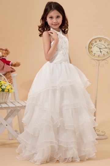 Vestidos Linha A Decote Meio Vestidos longos Organza Branca Vestido de daminha