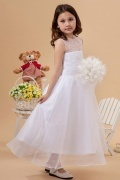 Bodenlanges Liebliches Perlen Blumenmädchenkleid aus Organza