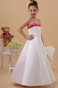 Empire Spaghettiträger Perlenbodenlanges Blumenmädchenkleid aus Satin