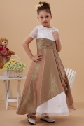 Robe mariage enfant bicolore à manche courte en taffetas