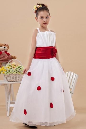 Cute Straps Ruching Red Belt Organza Flower Girl Dress
