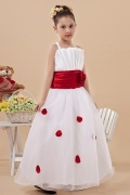 Cute Straps Ruching Red Belt Organza Flower Girl Dress