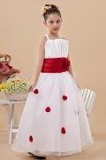 Vestidos Linha A  Adornado com uma flor vermelha Vestidos longos brancos Vestido de daminha