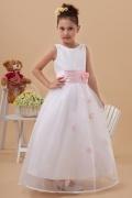 Vestidos Linha A com o cinto rosa Organza Branca Vestido de daminha