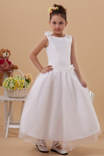 Simple A line White Ankle Length Taffeta Flower Girl Dress