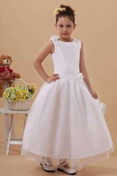 Robe mariage enfant longue blanche ornée de fleurs