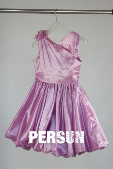 Dressesmall Pink V Neck A Line Short Flower Girl Dress