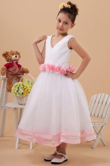 Vestidos Linha A  Decote V Decoradas com flores ao redor da cintura Vestido de daminha